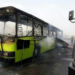 آتش گرفتن اتوبوس خط واحد در برومی اهواز