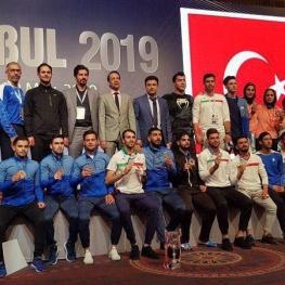 تیم کاراته ایران بر سکوی قهرمانی لیگ جهانی سری آ استانبول ايستاد
