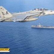 """فرماندهی مرکزی آمریکا: جنگنده اف-۱۸-ای از اسکادران """"جولی راجر"""" بالای ناو هواپیمابر یواساس آبراهام لینکلن"""