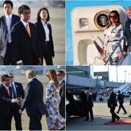 رئیسجمهور آمریکا در آغاز سفر چهار روزه وارد توکیو شد