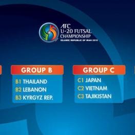 گروه بندی رقابت های قهرمانی فوتسال زیر ۲۰ سال آسیا انجام شد