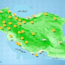 پیش بینی رگبار باران و وزش باد در گلستان، مازندران، سمنان، اردبیل و آذربایجانهای شرقی و غربی.