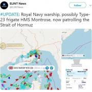 ناو جنگی مونتروز انگلیس نزدیک تنگه هرمز موضع گرفته است