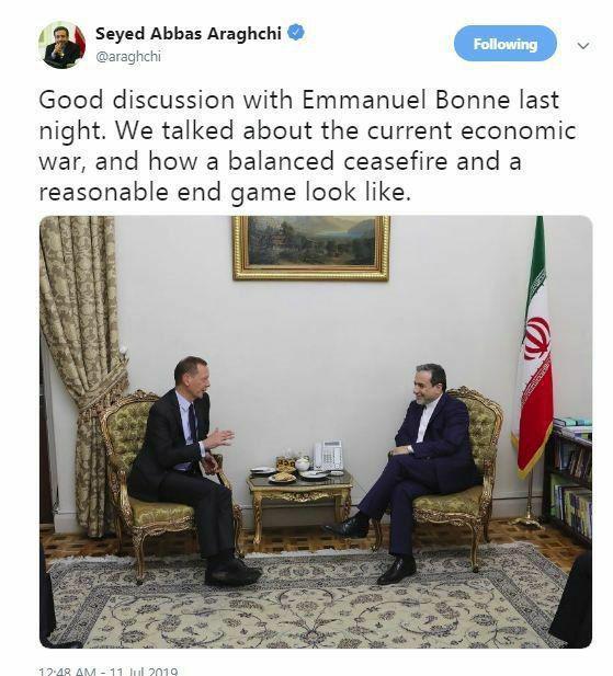 عراقچی: شب گذشته بحثهای خوبی با امانوئل بُن (مشاور دیپلماتیک ماکرون) داشتم.