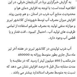 تبریز رکورد مصرف آب را شکست
