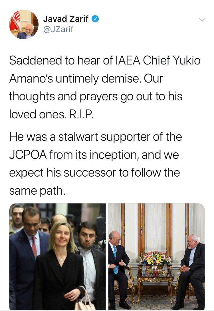 پیام تسلیت ظریف پس از درگذشت یوکیا آمانو