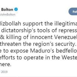 خشم بولتون از سفر ظریف به ونزوئلا