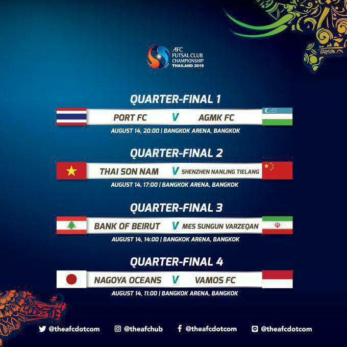 برنامه دیدارهای مرحله یکچهارم نهایی فوتسال قهرمانی باشگاههای آسیا