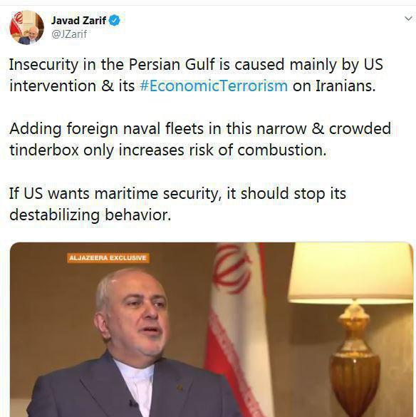 ظریف :ناامنی در خلیج فارس عمدتا با مداخله ایالات متحده  و تروریسم اقتصادیاش ایجاد شده است.