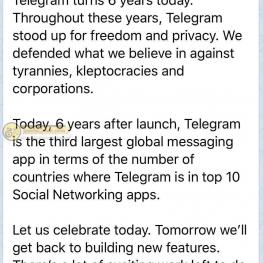 پیام پاول دورف (موسس و مدیر تلگرام) بمناسبت شش سالگی این پیام رسان محبوب