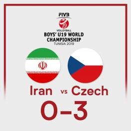 شکست تیم ملی والیبال نوجوانان ایران مقابل جمهوری چک