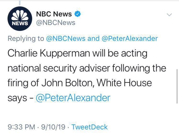 چارلی کوپرمن، جایگزین جان بولتون