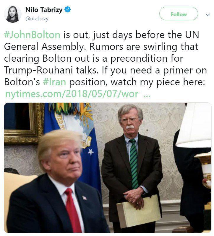 نیلوفر تبریزی (خبرنگار نیویورک تایمز): برکناری بولتون درست قبل از نشست مجمع عمومی سازمان ملل، شایع شده است