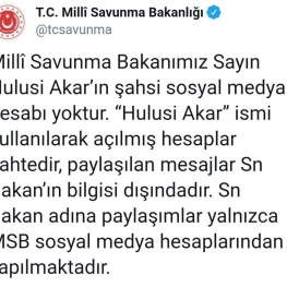 صفحه رسمی وزارت دفاع ملی ترکیه با انتشار یک توییت، صفحات منتسب به وزیر دفاع ترکیه و اخبار منتشر شده را جعلی دانسته