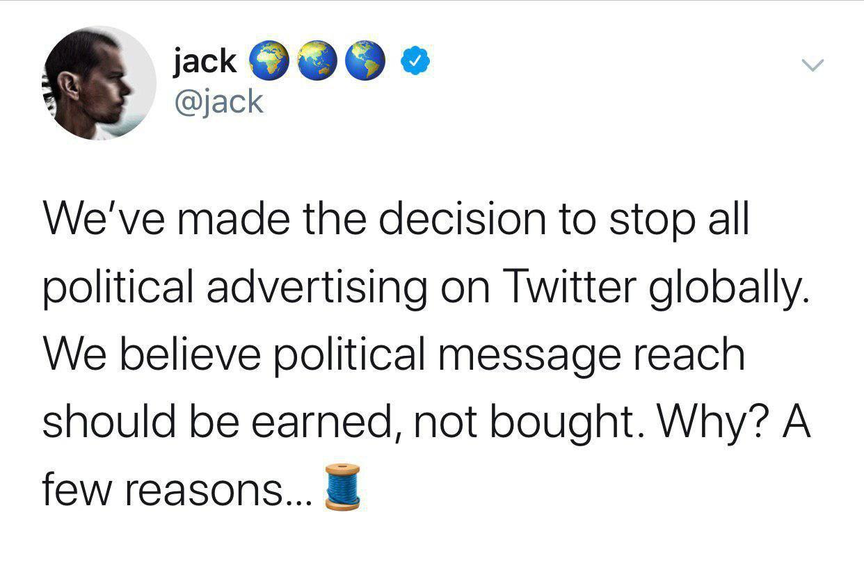 توییتر تمام تبلیغات سیاسی را روی پلتفرم خود ممنوع کرد