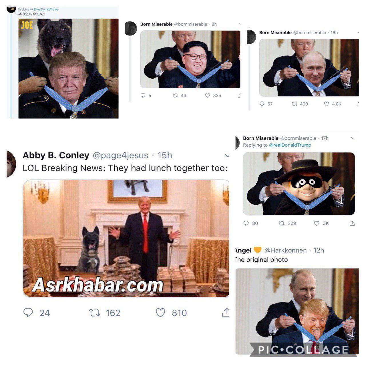 بازنشر عکس ساختگی به وسیله رئیس جمهور آمریکا، سوژه فعالین شبکه های مجازی شد