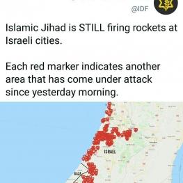 نقشه فوق مناطقی که به وسیله گروه فلسطینی جهاد اسلامی مورد حمله راکتی قرار گرفته