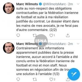 مارک ویلموتس توافق با فدراسیون فوتبال ایران را تکذیب کرد