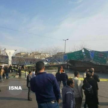 سقوط پل عابر پیاده روی بزرگراه شهید چراغچی مشهد