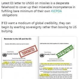 واکنش ظریف به نامه تروئیکای اروپایی به سازمان ملل