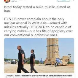 واکنش «ظریف» به آزمایش موشک هستهای توسط اسرائیل