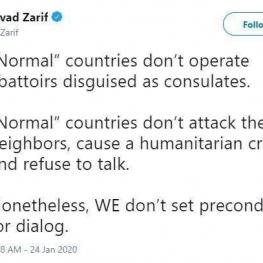 ظریف خطاب به عادل الجبیر: کشورهای عادی به همسایگانشان حمله نمی کنند
