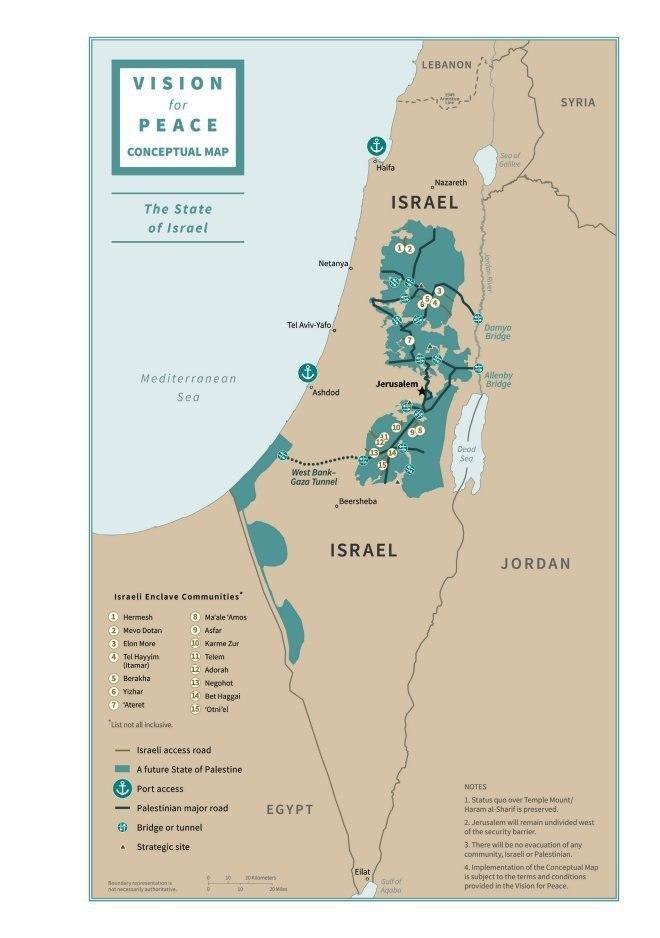 آمریکا نقشه مناطق فلسطینی و اسراییل در طرح پیشنهادی ترامپ (معامله قرن) را منتشر کرد