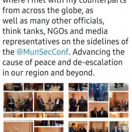 روایت توئیتری ظریف از حضور در کنفرانس امنیتی مونیخ