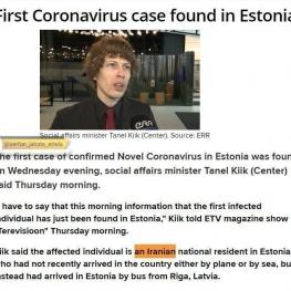 اولین مورد کرونا در استونی هم تشخیص داده شد: بیمار هم یک ایرانی هست