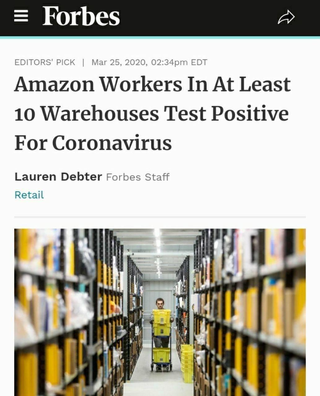 تست کرونا کارمندان آمازون در ۱۰ انبار آمریکا مثبت بوده است.