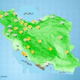 در نوار شرقی کشور، شرق سواحل دریای خزر و ارتفاعات البرز شرقی بارش باران و وزش شدید باد