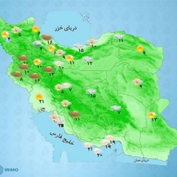 بارش باران، رعد و برق و وزش باد در بیشتر مناطق کشور