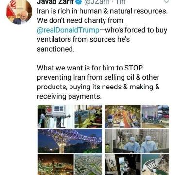 ظریف: به صدقه ترامپ نیاز نداریم، مانع فروش نفت ما نشود