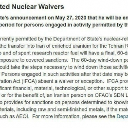 دفتر کنترل داراییهای خارجی وزارت خزانهداری آمریکا خبر واشنگتنپست مبنی بر لغو معافیتهای هستهای ایران را تایید کرد