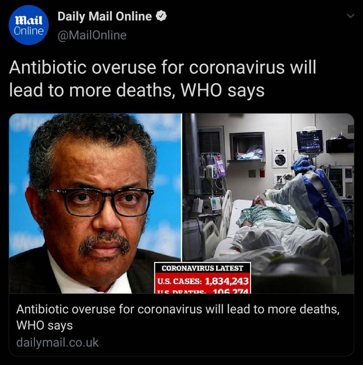 استفاده بیش از اندازه آنتی بیوتیک موجب مرگ بیماران کرونایی میشود