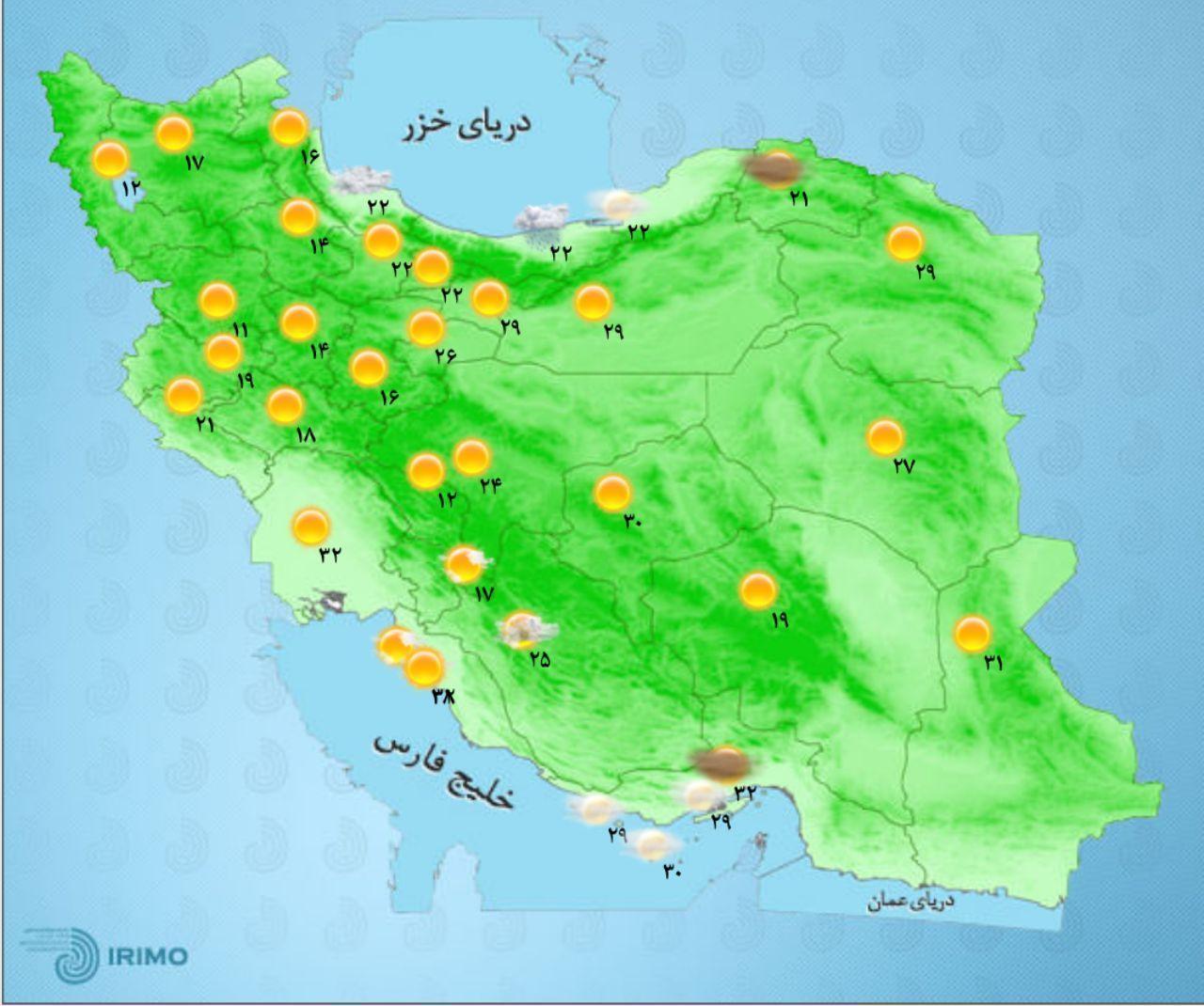 وضعیت آب و هوای استان های کشور