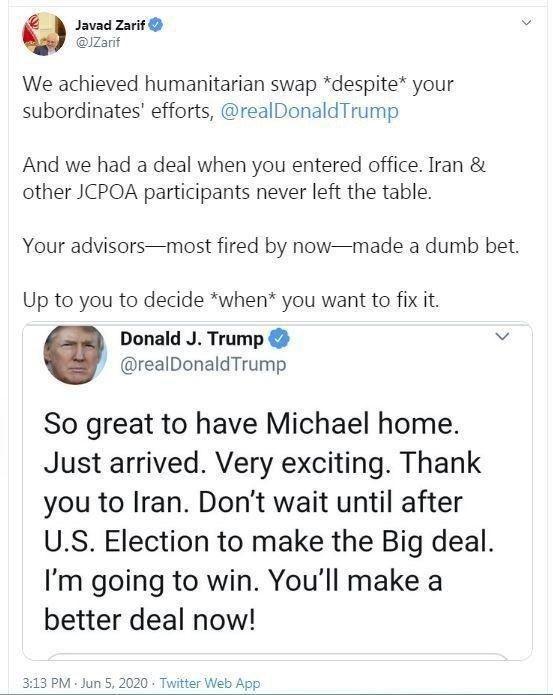 پاسخ ظریف به ترامپ در واکنش به پیشنهاد مذاکره
