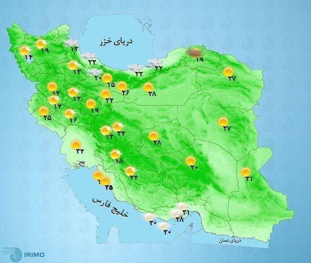 شمالشرق تهران و ارتفاعات سمنان رگبار باران، رعد و برق و وزش باد شدید موقت پیشبینی میشود.