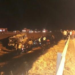 یک کشته و ۳۲ مصدوم در واژگونی اتوبوس در محور نیشابور -مشهد
