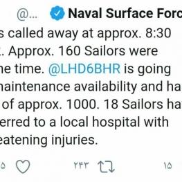 زخمی شدن ۱۸ نظامی آمریکایی در جریان انفجار ناوهواپیمابر این کشور