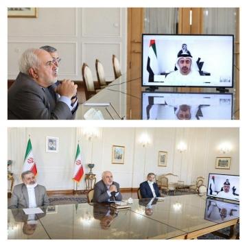 نشست ویدئویی وزرای امور خارجه ایران و امارات