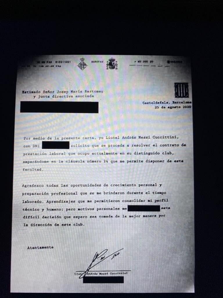 تصویری از فکس لیونل مسی برای درخواست جدایی از بارسلونا