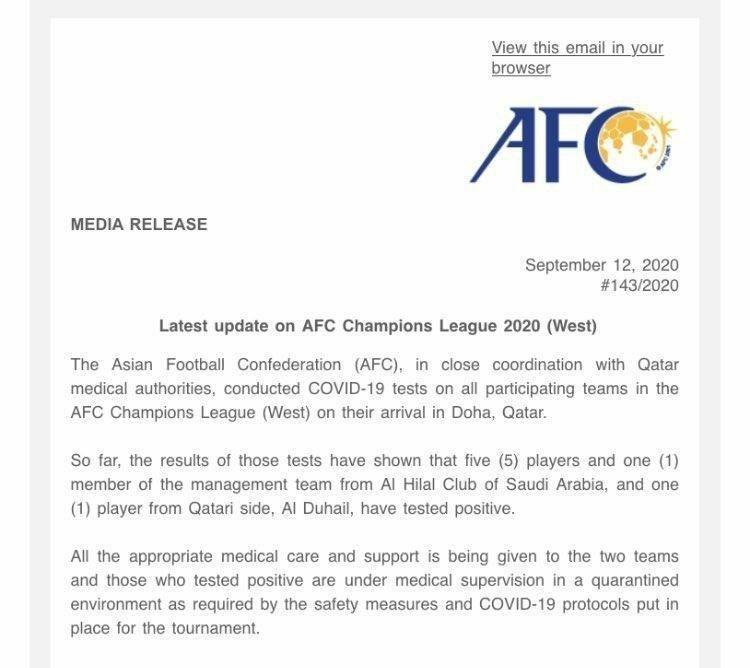 پنج بازیکن باشگاه الهلال عربستان و یک عضو کادرفنی این تیم به ویروس کرونا مبتلا شدند