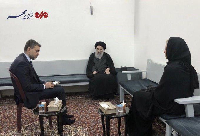 دیدار نماینده دبیرکل سازمان ملل با آیت الله سیستانی در نجف