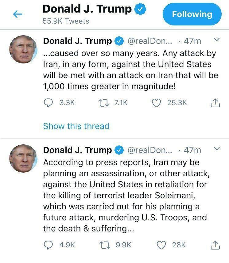 ترامپ: هر حمله ایران را ۱۰۰۰ برابر پاسخ میدهیم