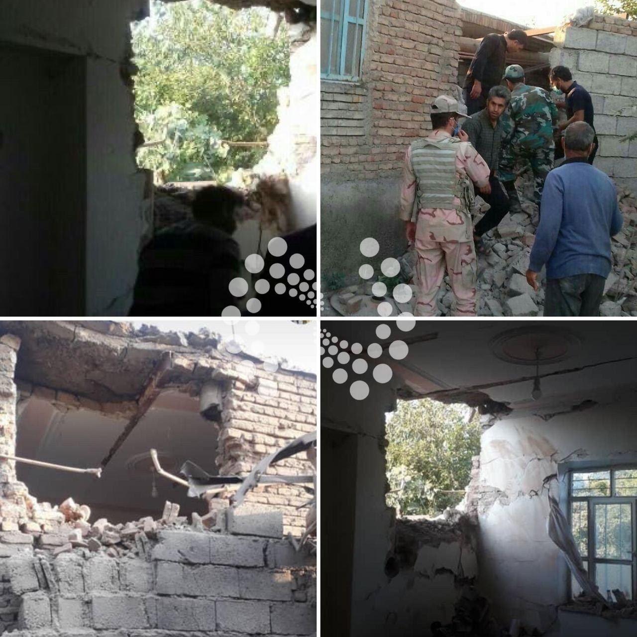 تخریب خانه های روستایی خداآفرین بر اثر اصابت راکت های جنگ قره باغ