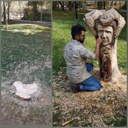 قطع تندیس شجریان در پارک ملت مشهد