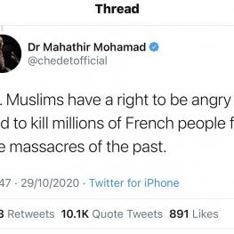 ماهاتیر محمد: مسلمانها حق دارند میلیونها فرانسوی را بکشند