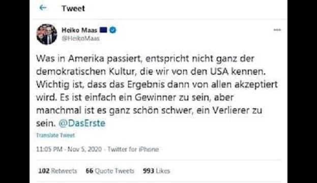 کنایه وزیر خارجه آلمان به شکست احتمالی ترامپ در انتخابات