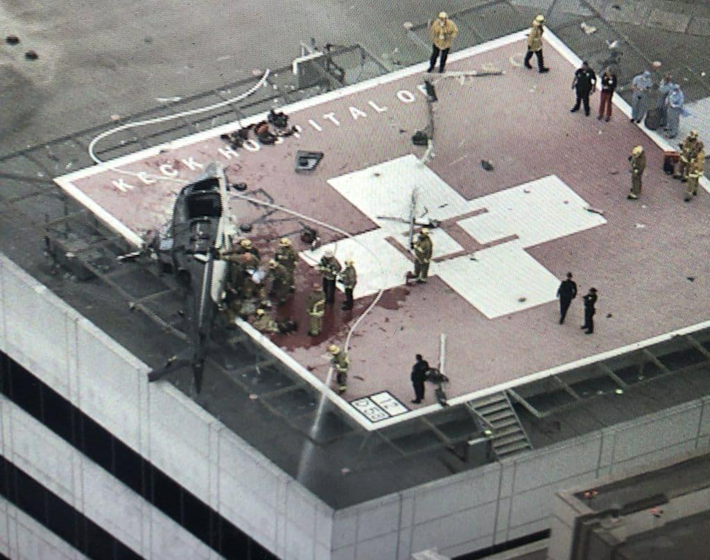 یک بالگرد بر پشت بام بیمارستانی در کالیفرنیا سقوط کرد